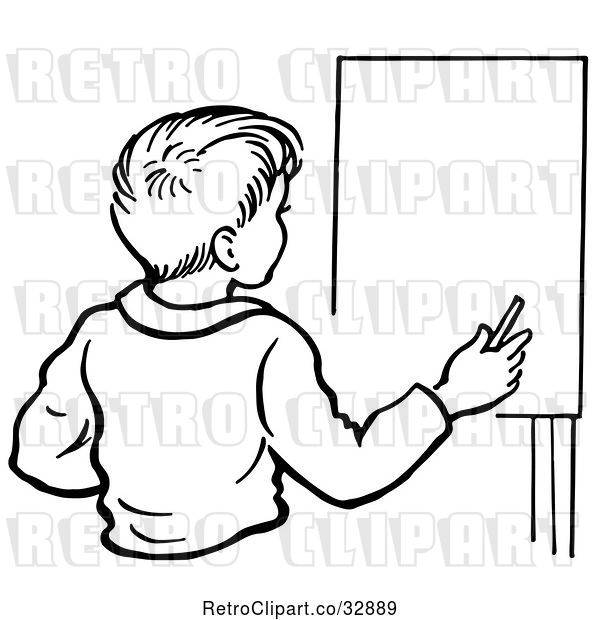 : Vector Clip Art of Retro Boy by an Easel in