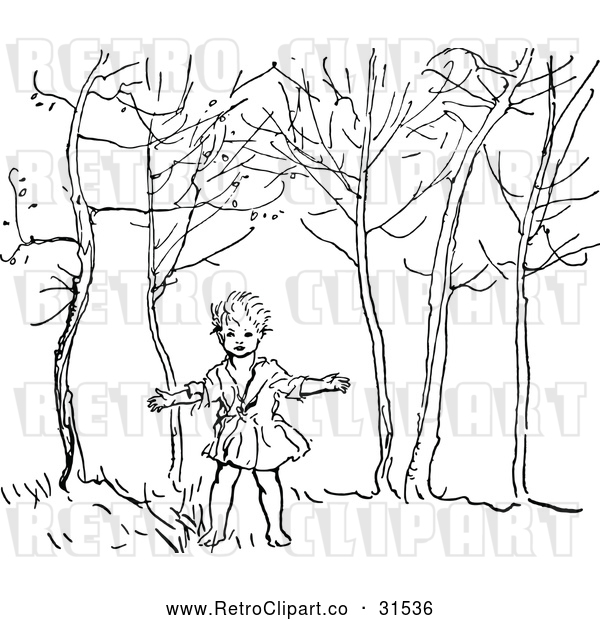 Vector Clip Art of Retro Boy in the Woods