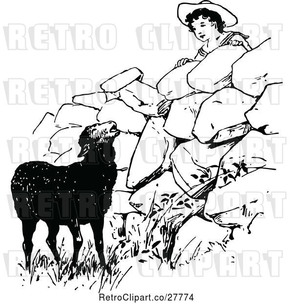 Vector Clip Art of Retro Boy Looking at a Black Sheep