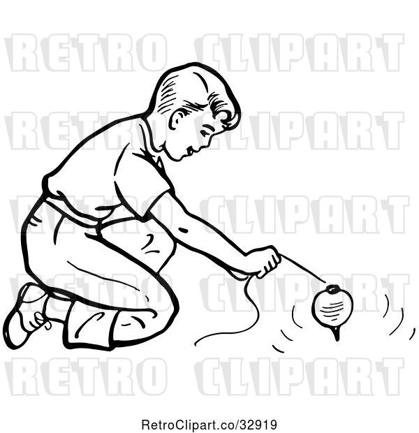 Vector Clip Art of Retro Boy Playing with a Top in