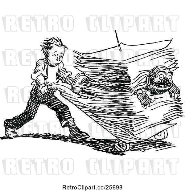 Vector Clip Art of Retro Boy Pushing a Guy in a Stack of Paperwork