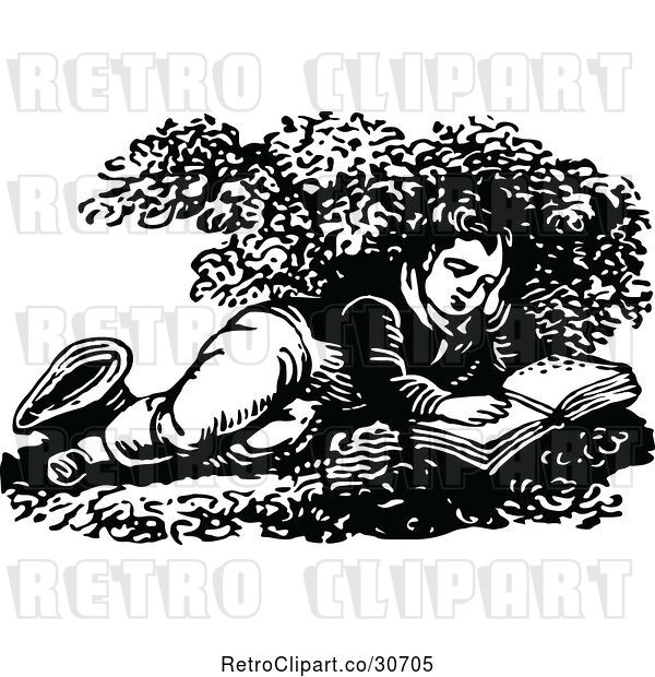 Vector Clip Art of Retro Boy Reading on the Ground