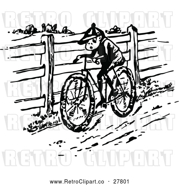 Vector Clip Art of Retro Boy Riding a Bike in the Country
