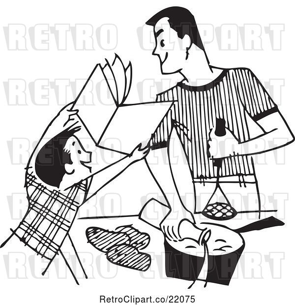 : Vector Clip Art of Retro Boy Showing a Book to His Cooking Father