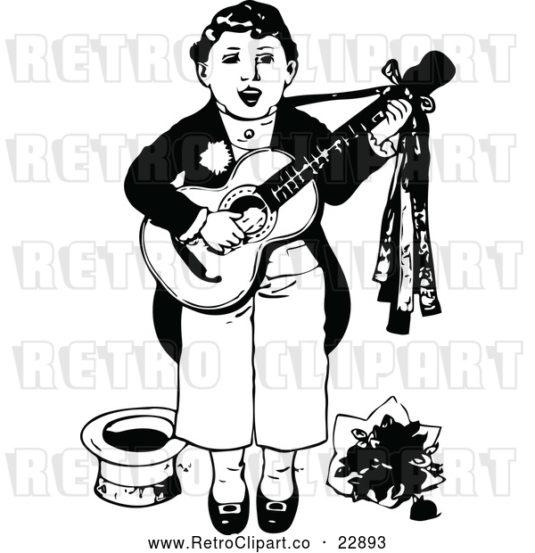 Vector Clip Art of Retro Boy Singing and Playing a Guitar