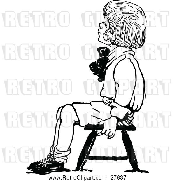 Vector Clip Art of Retro Boy Sitting on a Stool