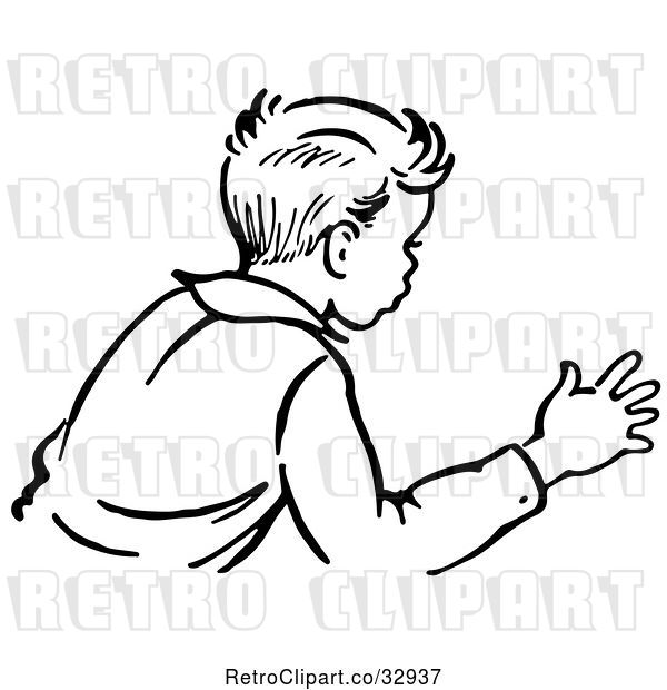 Vector Clip Art of Retro Boy Trying to Stop an Action in