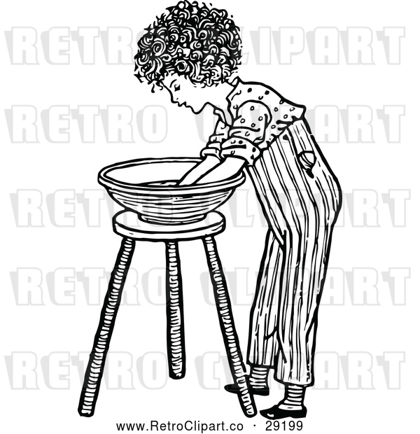 Vector Clip Art of Retro Boy Washing His Hands in a Bowl