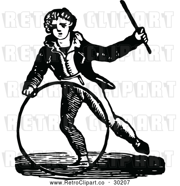 Vector Clip Art of Retro Boy with a Hoop and Wand
