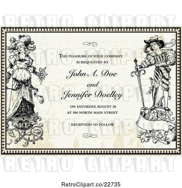 Vector Clip Art of Retro Bride and Groom in a Border over Paper with Sample Text