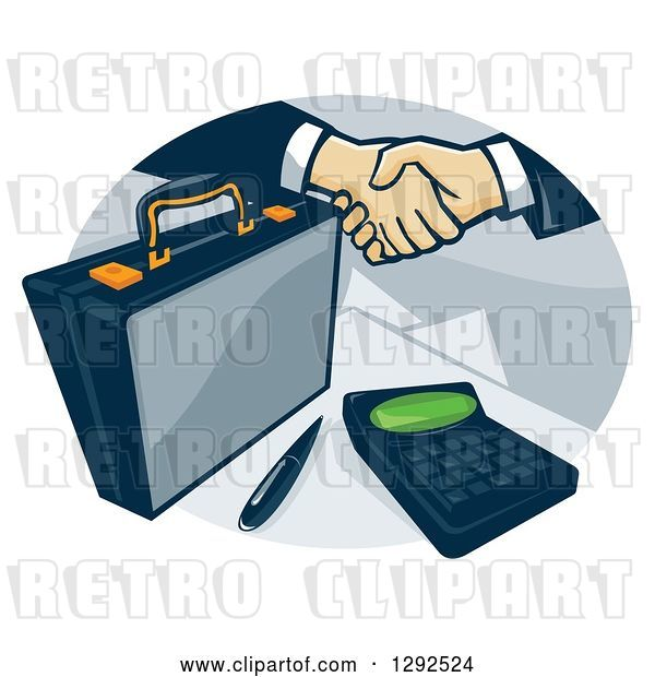 Vector Clip Art of Retro Briefcase and Handshake with a Calculator in an Oval