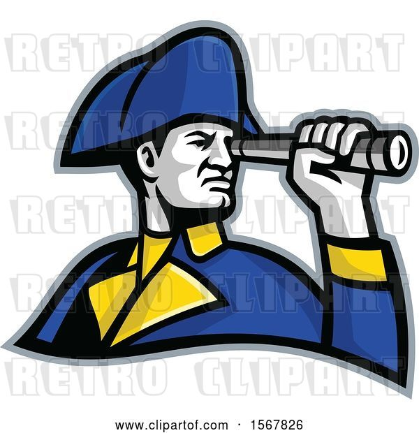 Vector Clip Art of Retro British Admiral Looking Through a Telescope Spyglass