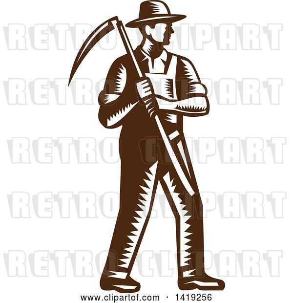 Vector Clip Art of Retro Brown and White Woodcut Male Farmer Holding a Scythe
