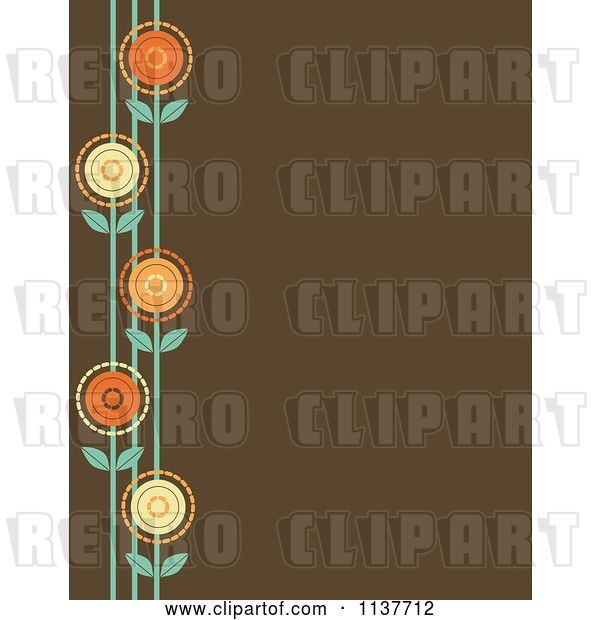 Vector Clip Art of Retro Brown Background with a Border of Flowers
