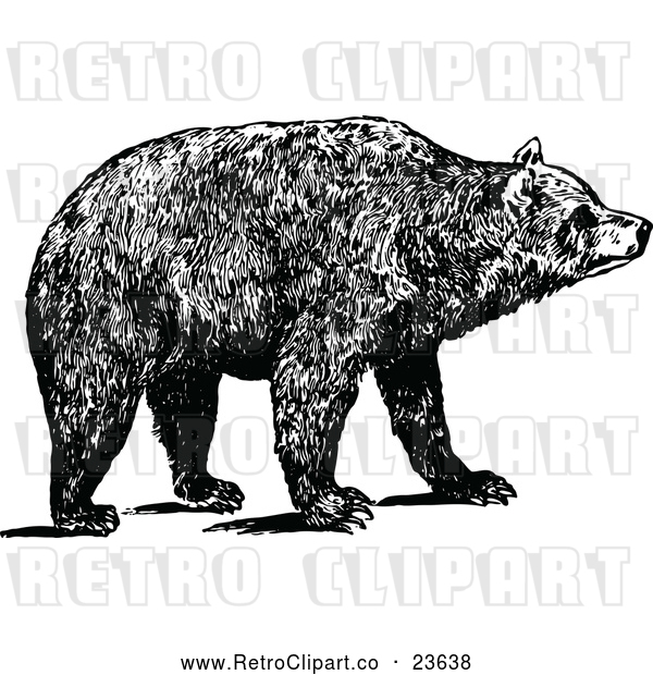Vector Clip Art of Retro Brown Bear