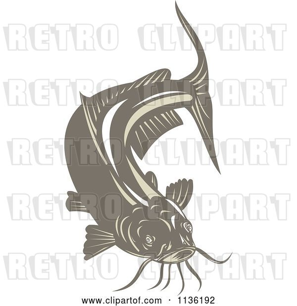 Vector Clip Art of Retro Brown Catfish