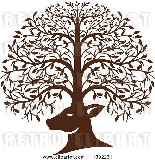 Vector Clip Art of Retro Brown Deer Head with His Antlers Forming a Tree