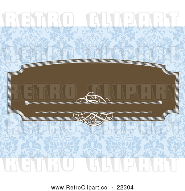 : Vector Clip Art of Retro Brown Frame with Swirls over a Blue Floral Pattern