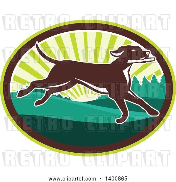 Vector Clip Art of Retro Brown Pointer Dog Running in a Sunrise Oval