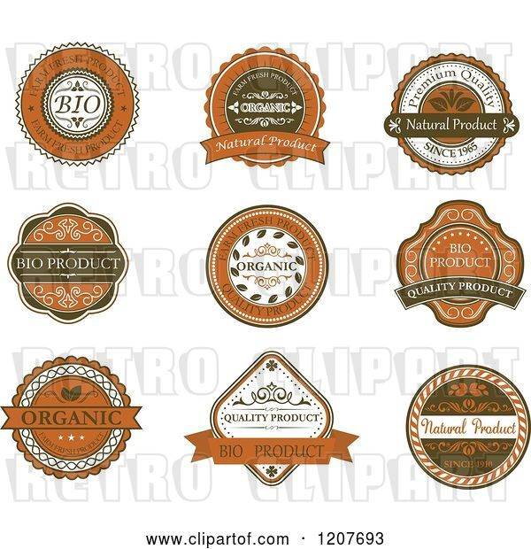 Vector Clip Art of Retro Brown Quality and Organic Labels