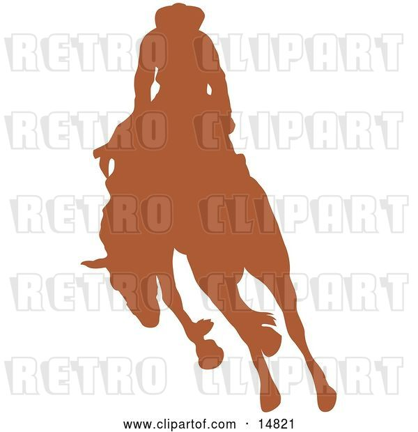 Vector Clip Art of Retro Brown Silhouette of a Cowboy Riding a Bucking Bronco in a Rodeo