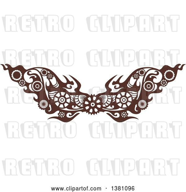 Vector Clip Art of Retro Brown Steampunk Border or Tattoo Design Element with Gears