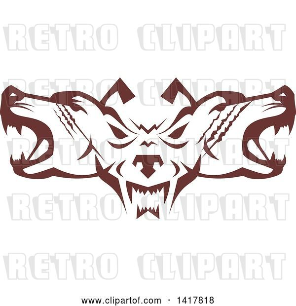 Vector Clip Art of Retro Brown Wolf Heads Facing Front and to the Sides