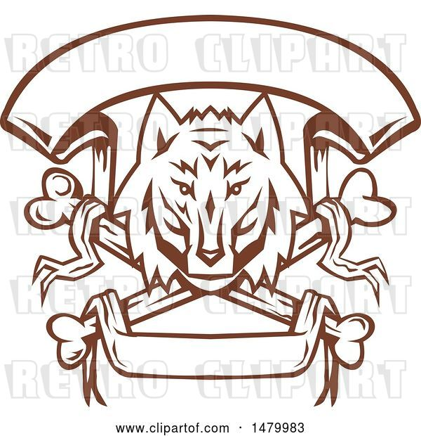 Vector Clip Art of Retro Browna Nd White Wolf Head over Cross Bones and Banners