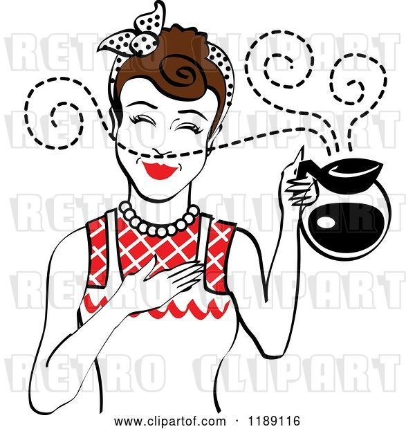 Vector Clip Art of Retro Brunette Waitress or Housewife Smelling the Aroma of Fresh Hot Coffee in a Pot 2