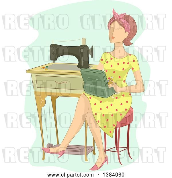 Vector Clip Art of Retro Brunette White Lady Sitting with a Box by a Sewing Machine