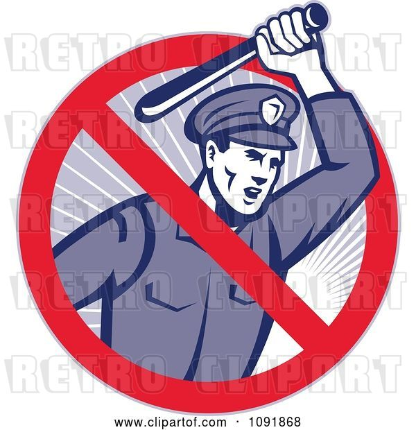 Vector Clip Art of Retro Brutal Police Officer and Prohibited Symbol