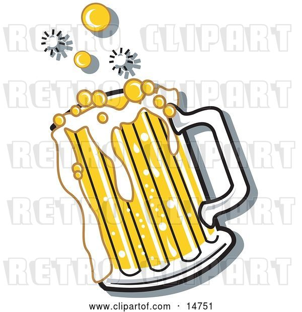 Vector Clip Art of Retro Bubbly and Frothy Mug of Beer Spilling over the Rim of a Mug
