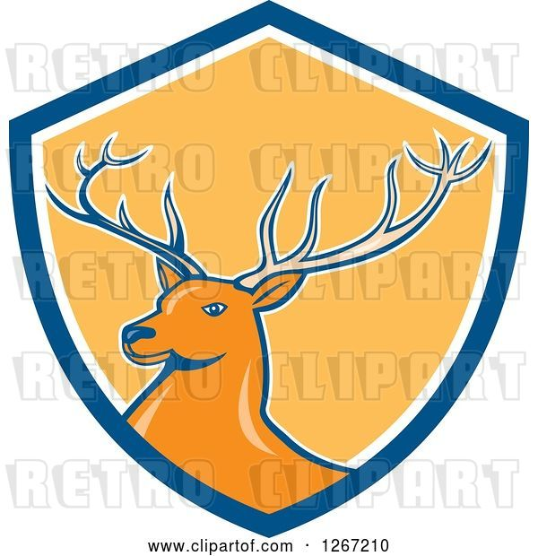 Vector Clip Art of Retro Buck Deer in a Blue White and Yellow Shield