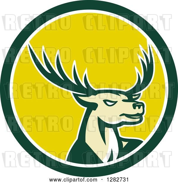 Vector Clip Art of Retro Buck Deer in a Green White and Yellow Circle