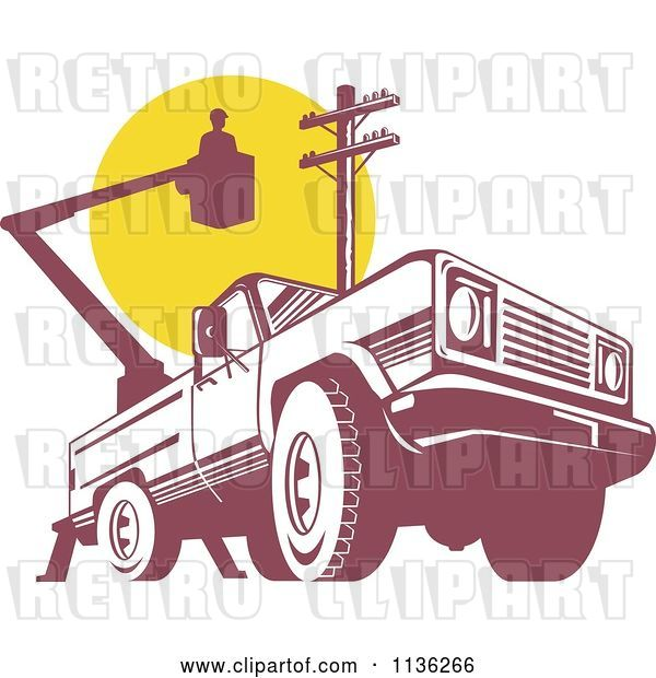 Vector Clip Art of Retro Bucket Truck with an Electrican and Pole