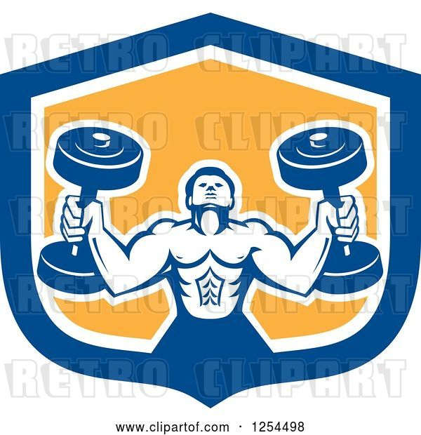 Vector Clip Art of Retro Buff Bodybuilder Lifting Heavy Weights in a Blue and Yellow Shield