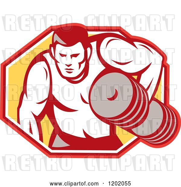 Vector Clip Art of Retro Buff Bodybuilder Lifting Heavy Weights over a Hexagon
