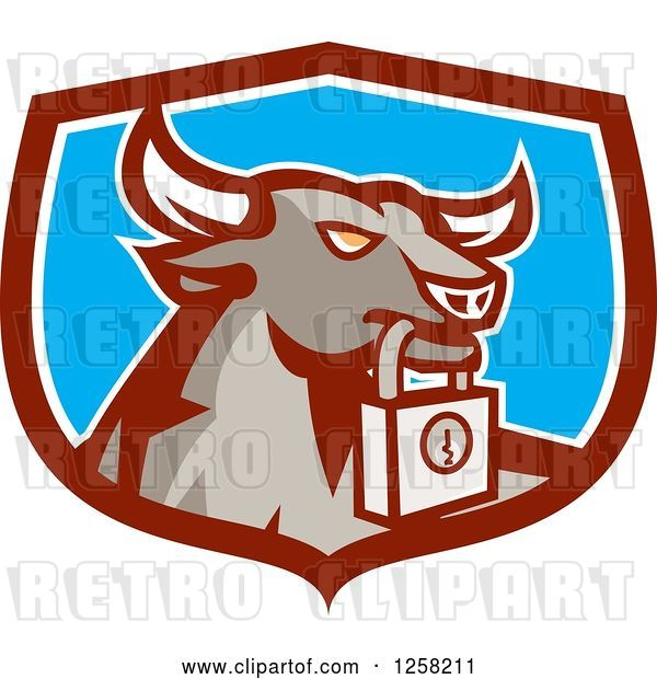 Vector Clip Art of Retro Bull with a Padlock in a Maroon White and Blue Shield