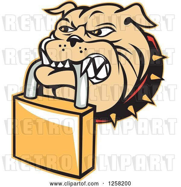 Vector Clip Art of Retro Bulldog Biting a Padlock