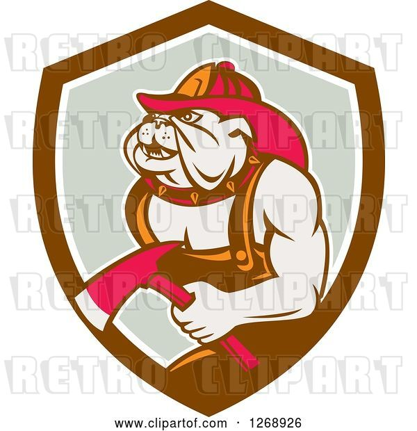 Vector Clip Art of Retro Bulldog Firefighter Holding an Axe in a Brown White and Gray Shield