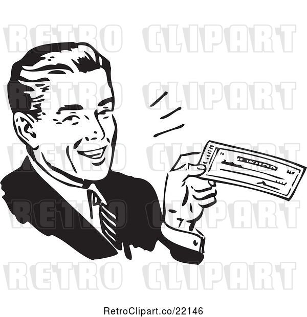 Vector Clip Art of Retro Business Man Holding a Check