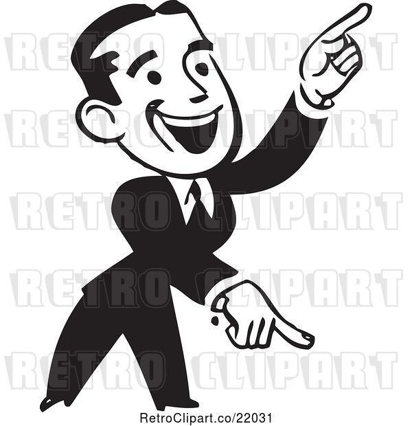 Vector Clip Art of Retro Business Man Pointing down and up