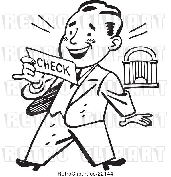 Vector Clip Art of Retro Business Man Reading a Check