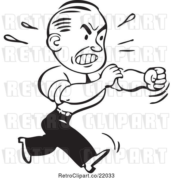 Vector Clip Art of Retro Business Man Rolling up His Sleeves to Fight