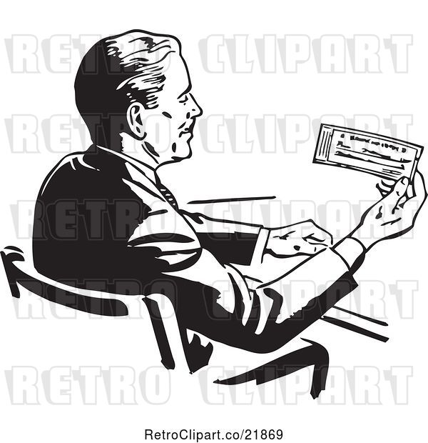 Vector Clip Art of Retro Business Man Sitting at a Desk and Holding a Check