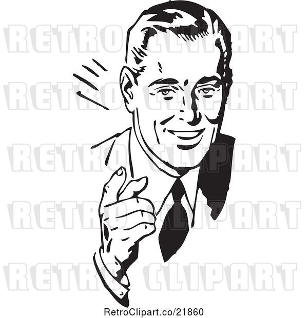 Vector Clip Art of Retro Business Man Talking and Waving His Hand