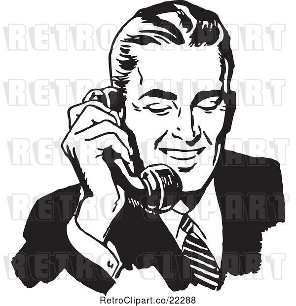Vector Clip Art of Retro Business Man Using a Phone - 1