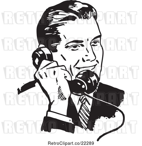 Vector Clip Art of Retro Business Man Using a Phone - 3