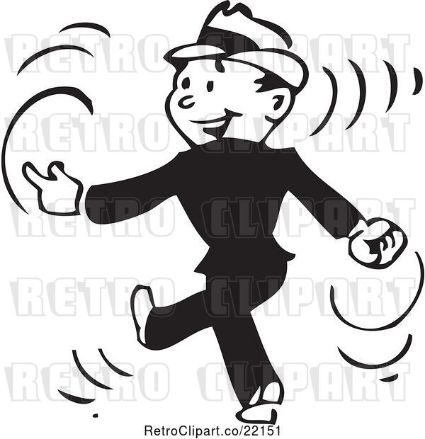 Vector Clip Art of Retro Business Man Walking and Snapping His Fingers