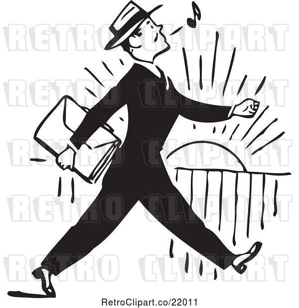 Vector Clip Art of Retro Business Man Whistling and Walking